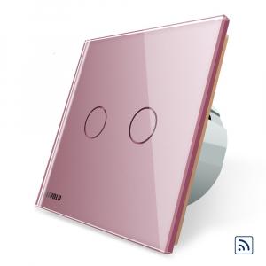 Intrerupator dublu cap scara - cap cruce wireless cu touch Livolo din sticla5