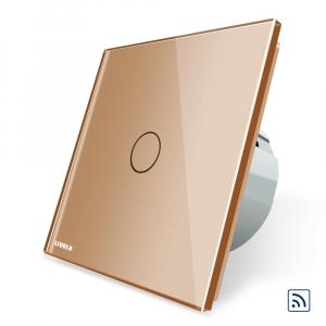 Intrerupator simplu cap scara / cap cruce wireless cu touch Livolo din sticla3