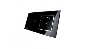 Intrerupator dublu cu touch + priza simpla Livolo rama din sticla3