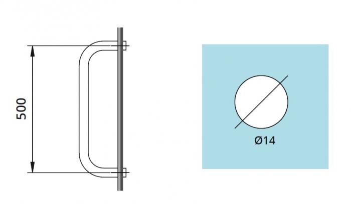 Maner port-prosop interax 500 mm 1