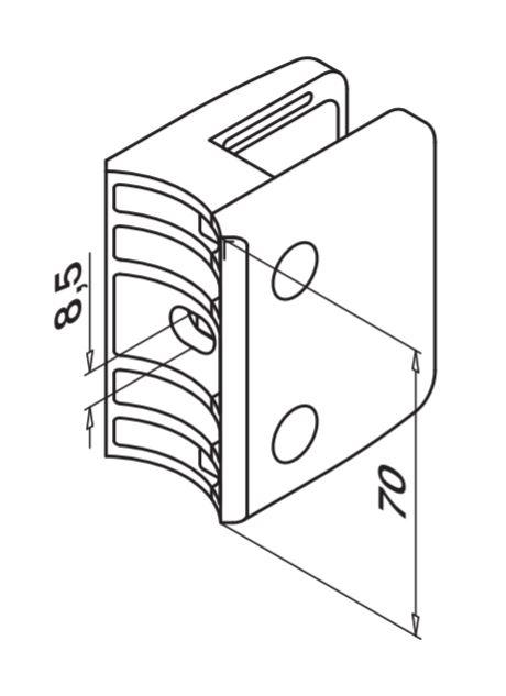 Clema MOD 24 fixare pe rotund pentru montant balustrada sticla 9,52-17,52 mm 1