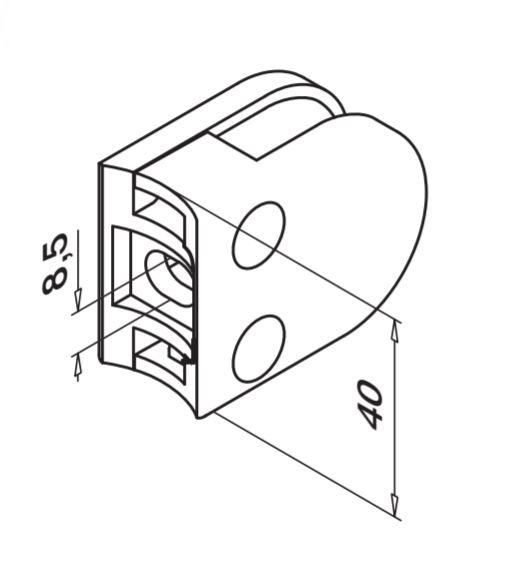 Clema MOD 27 fixare pe rotund pentru montant balustrada sticla 8,76-10,76 mm 1
