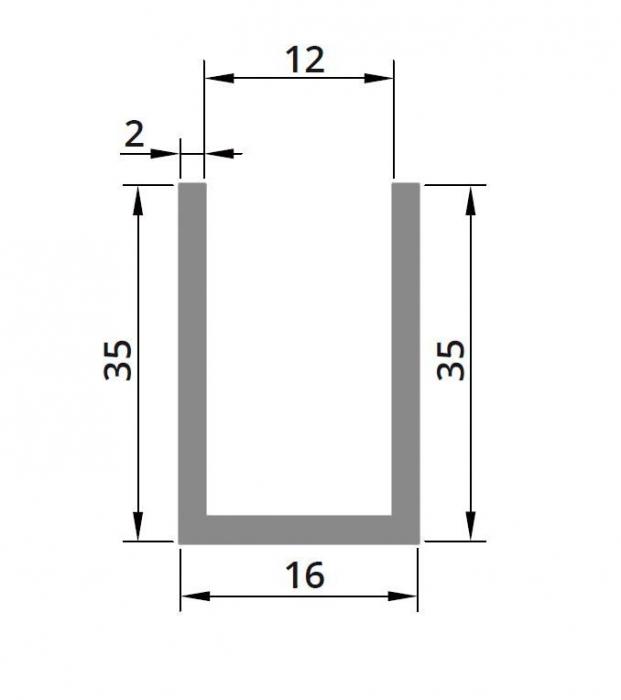 Profil compartimentare U 35x16x2 mm 1