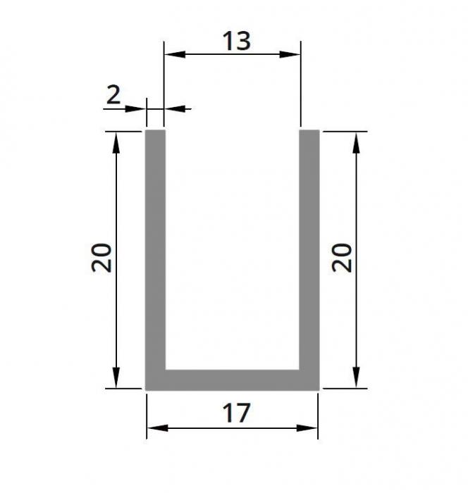 Profil compartimentare U 20x17x2 mm 1