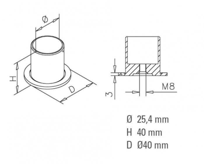 Conector perete/teava compartimentare toaleta 1