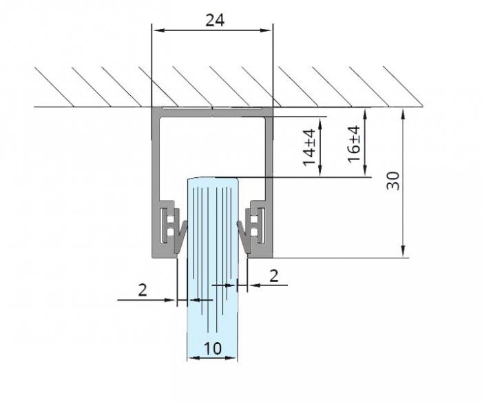 Profil monobloc superior sticla 10 mm 1