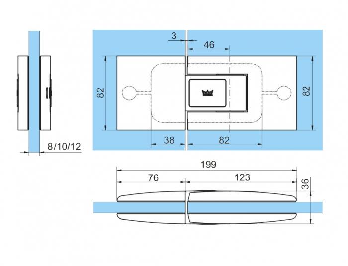 Set 2 balamale hidraulice Dorma Tensor sticla/sticla 1