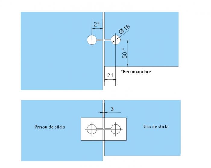 Set 2 balamale hidraulice Dorma Tensor sticla/sticla 3