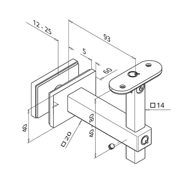 Suport sticla 12-25 mm reglabil mana curenta patrata 1