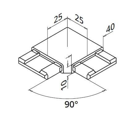 Imbinare orizontala 90° mana curenta rectangulara 40x10 mm 1