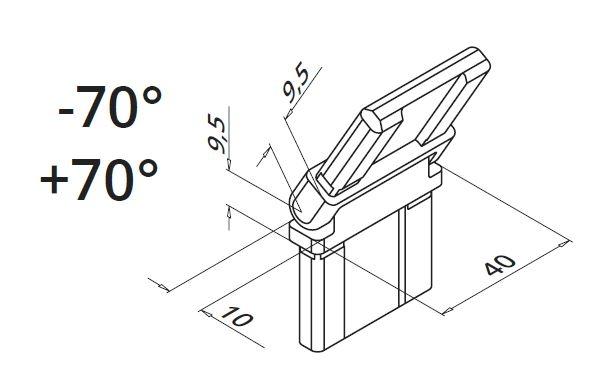 Colt reglabil ±70° mana curenta rectangulara 40x10 mm 1