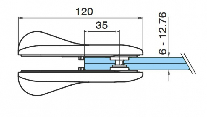 Incuietoare portita balustrada sticla/sticla 2
