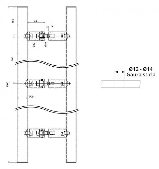 Maner rotund, interax 600 mm, L=1500 mm [1]