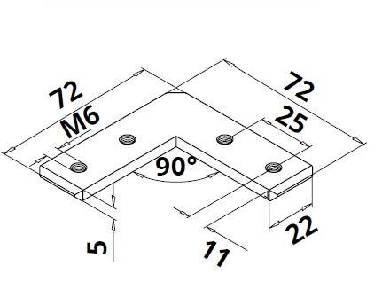Conector 90° profil U/mana curenta Easy Glass® Hybrid 1