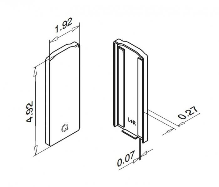 Capac capat profil U balustrada Easy Glass® Eco, fixare pardoseala 1