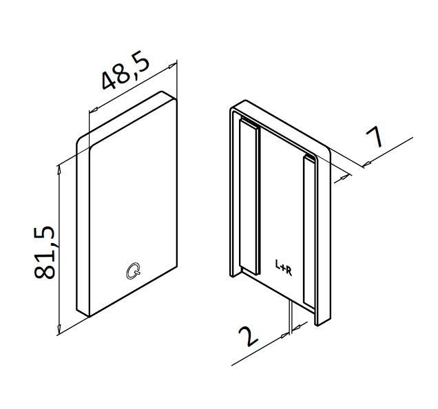 Capac capat profil U balustrada Easy Glass® Up, stanga-dreapta 1
