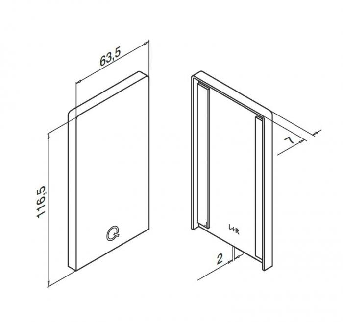 Capac capat profil U balustrada Easy Glass® Smart fixare pardoseala 1