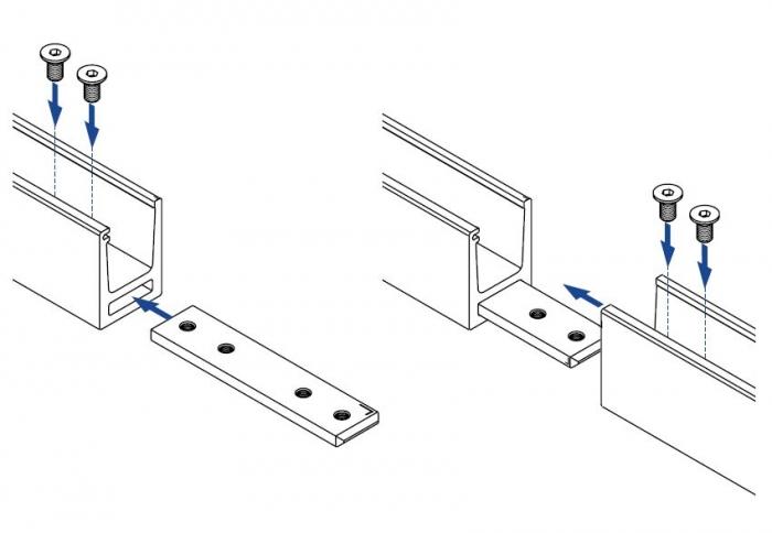 Conector 180° profil/mana curenta U Easy Glass® Hybrid 2