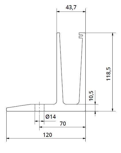 Profil U balustrada Easy Glass® Eco F cu talpa fixare pardoseala 1