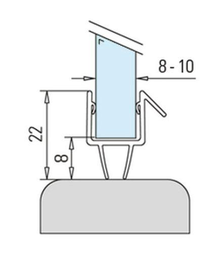 Garnitura cu 2 benzi cabina dus sticla 8-10 mm 1