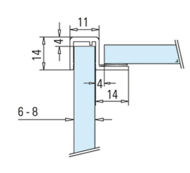 Garnitura cu banda la 90° cabina dus sticla 6-8 mm 1