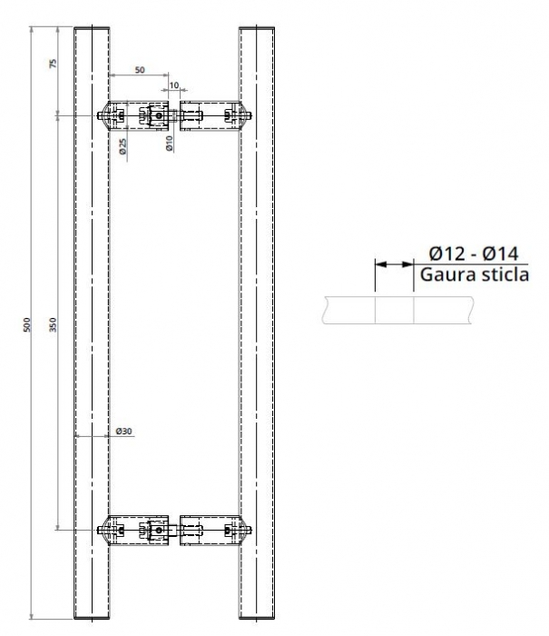 Maner rotund, interax 350 mm, L=500 mm 1