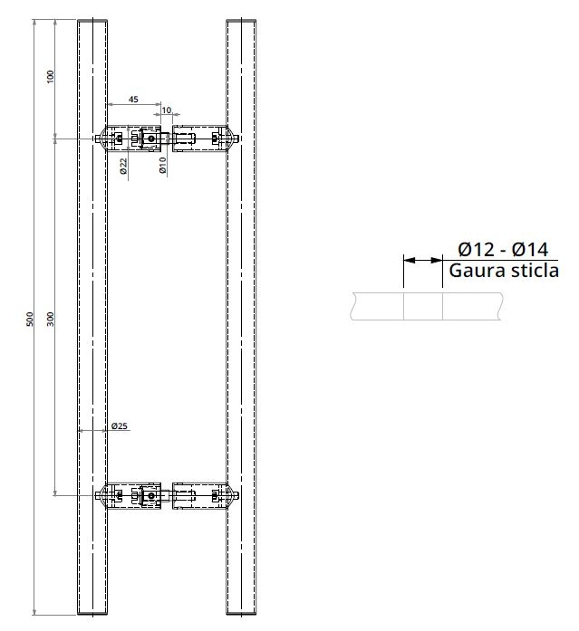 Maner rotund, interax 300 mm, L=500 mm 1