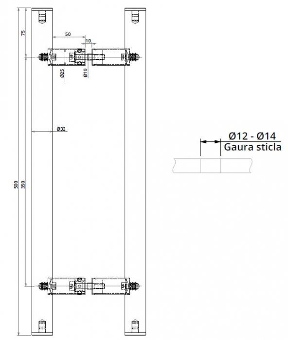 Maner rotund, Ø32, interax 350 mm, L=500 mm 1