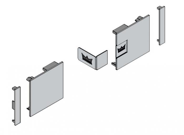 Set capace laterale profil acoperire fixare pe sticla Dorma Muto L80 0