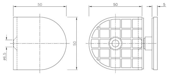 Conector 90° perete/sticla 8-10 mm 1