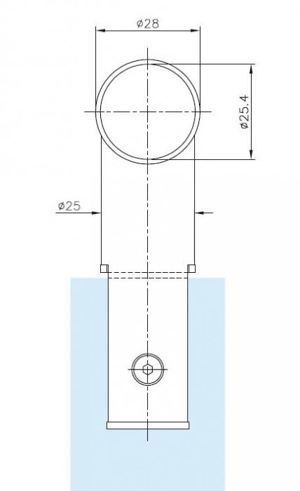 Conector 90° teava Ø25 mm compartimentare toaleta 1