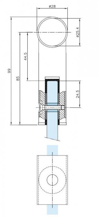 Conector 180° teava Ø25 mm compartimentare toaleta 1