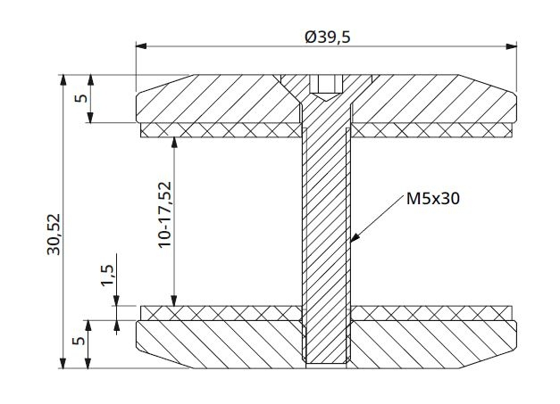 Conector rotund aliniere sticla Ø40 mm 1