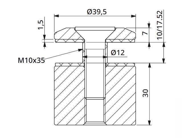 Prindere punctuala fixa fara gat Ø40x30 mm 1