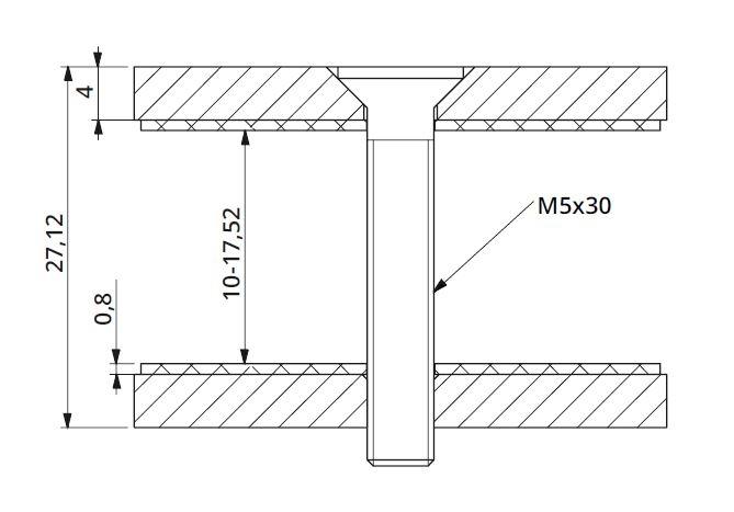 Conector dreptunghiular aliniere sticla 40x30 mm 1