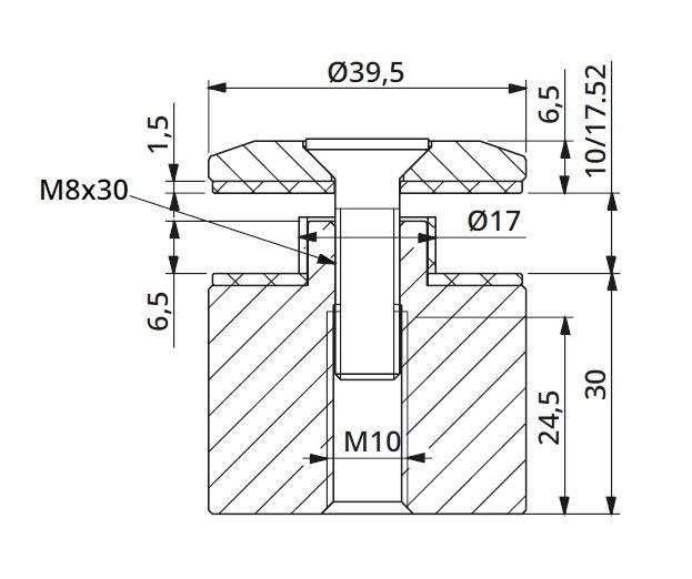 Prindere punctuala fixa cu gat Ø40x30 mm 1
