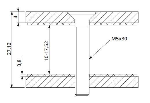 Conector patrat aliniere sticla 40x40 mm 1