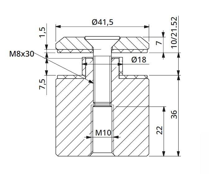 Prindere punctuala fixa cu gat Ø42x36 mm, tija M10 [1]