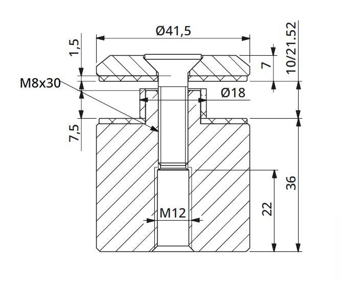 Prindere punctuala fixa cu gat Ø42x36 mm, tija M12 1