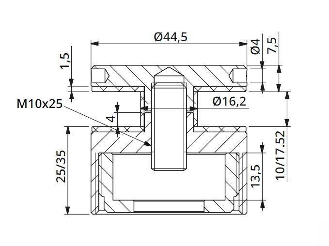 Prindere punctuala cu gat Ø45 mm reglabila 25-35 mm 1