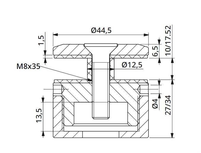 Prindere punctuala cu gat Ø45 mm reglabila 27-34 mm 1