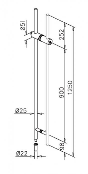 Maner cu incuietoare, interax 900 mm, L=1250 mm 1