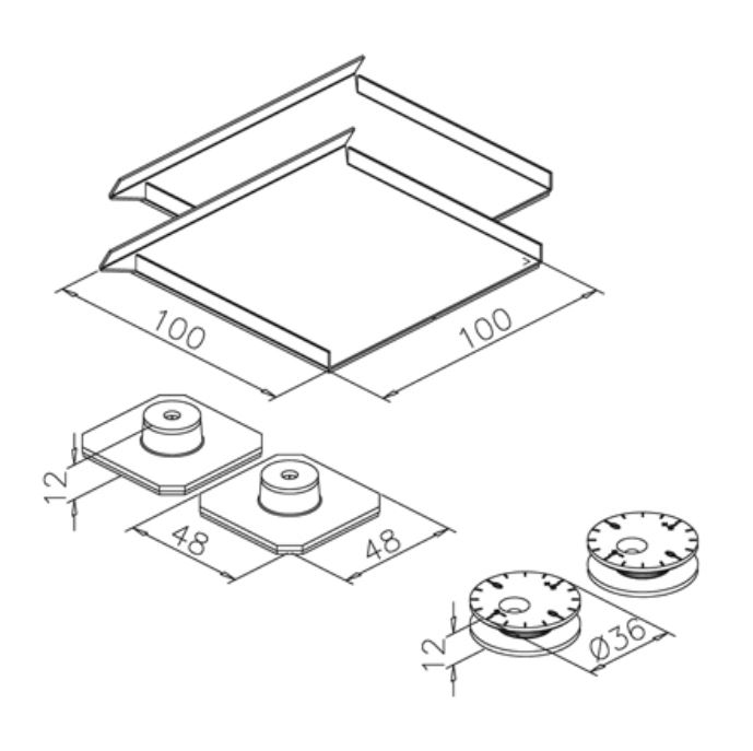 Set accesorii fixare mecanica oglinda max 0,8 m² 1