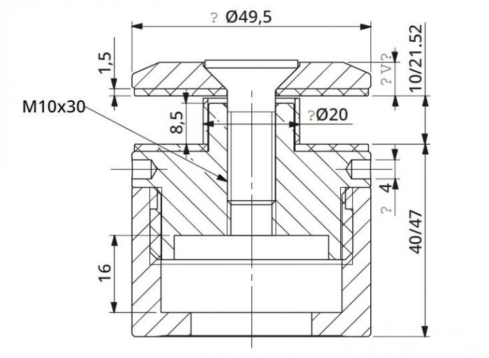 Prindere punctuala cu gat Ø50 mm reglabila 40-47 mm 1