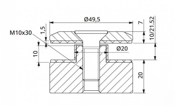 Prindere punctuala fixa cu gat Ø50x20 mm 1