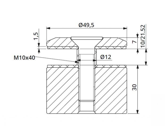 Prindere punctuala fixa fara gat Ø50x30 mm [1]