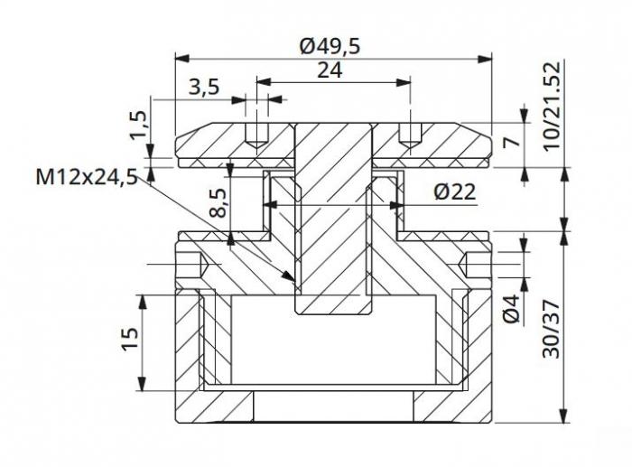 Prindere punctuala cu gat Ø50 mm reglabila 30-37 mm 1
