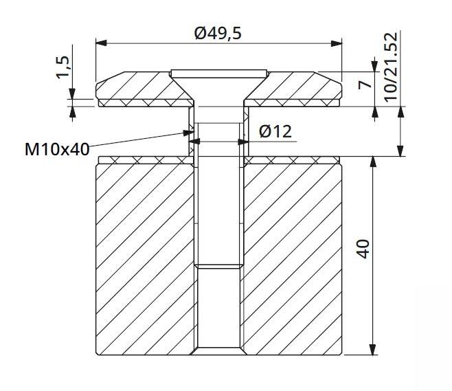 Prindere punctuala fixa fara gat Ø50x40 mm 1
