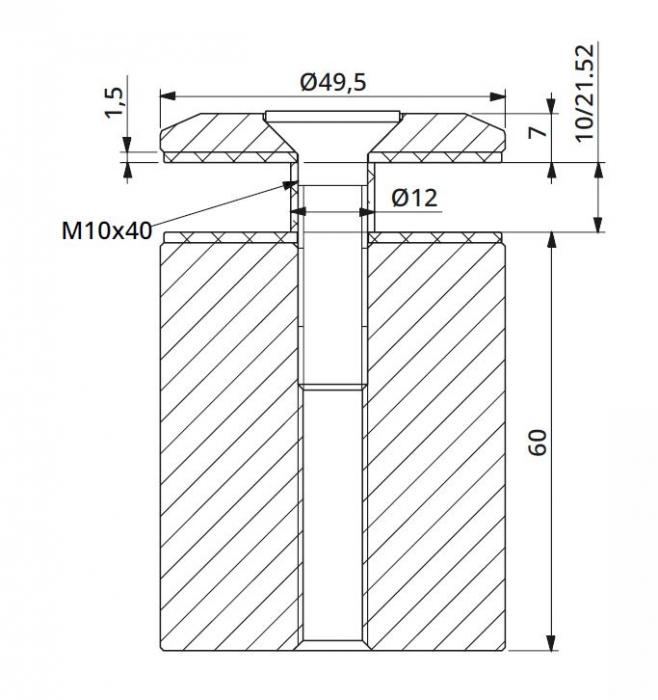Prindere punctuala fixa fara gat Ø50x60 mm 1