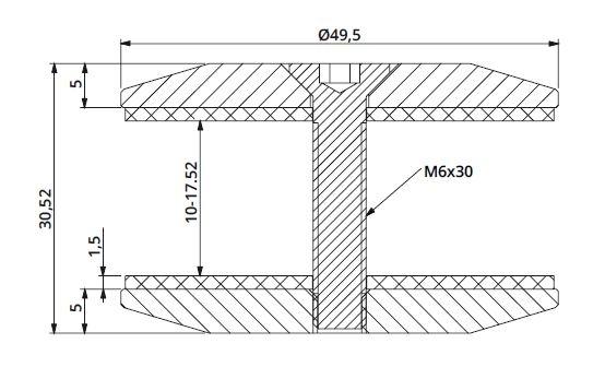 Conector rotund aliniere sticla Ø50 mm 1